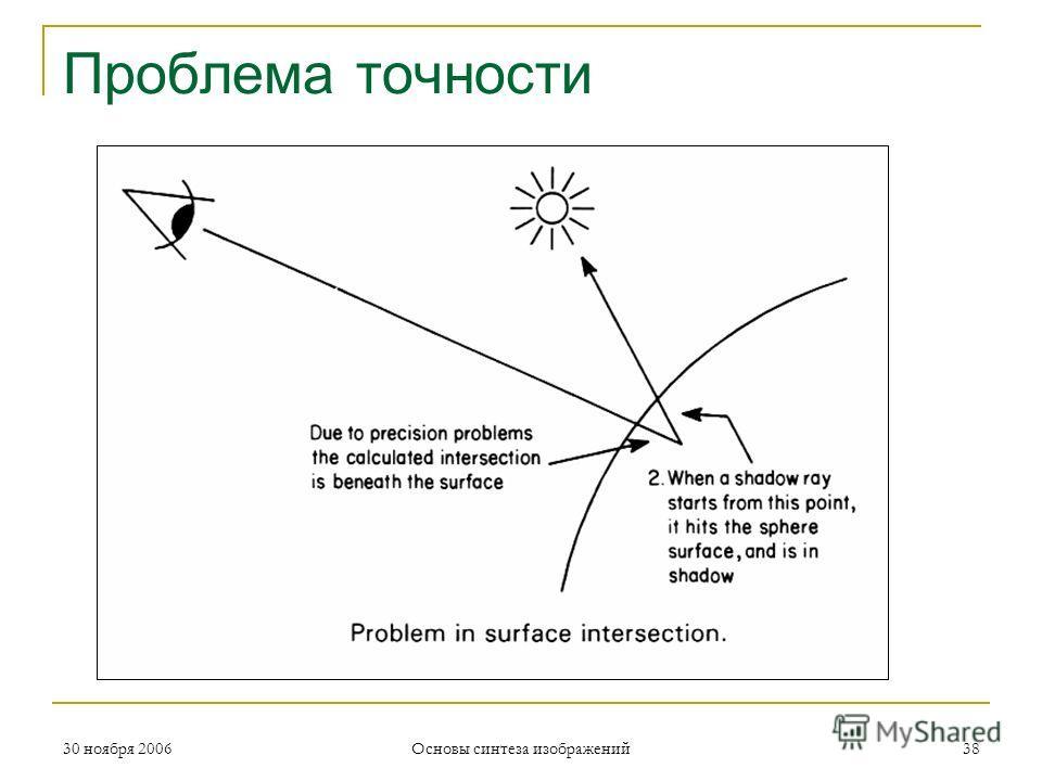 Проблема точности 30 ноября 200638 Основы синтеза изображений