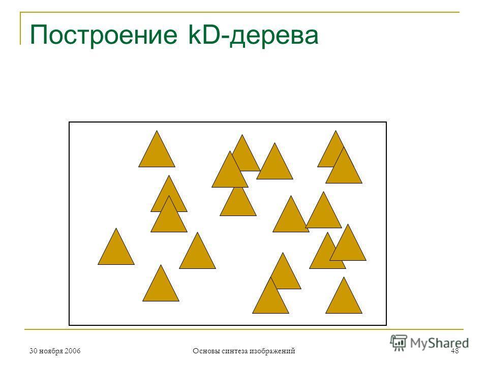 Построение kD-дерева 30 ноября 200648 Основы синтеза изображений