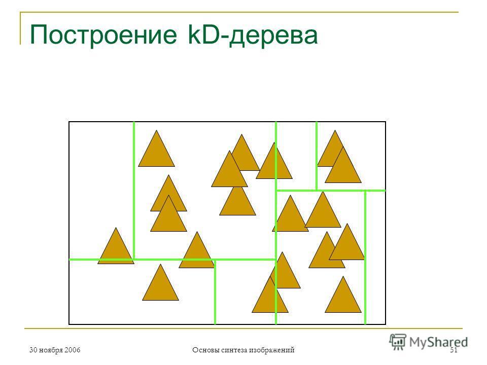 Построение kD-дерева 30 ноября 200651 Основы синтеза изображений