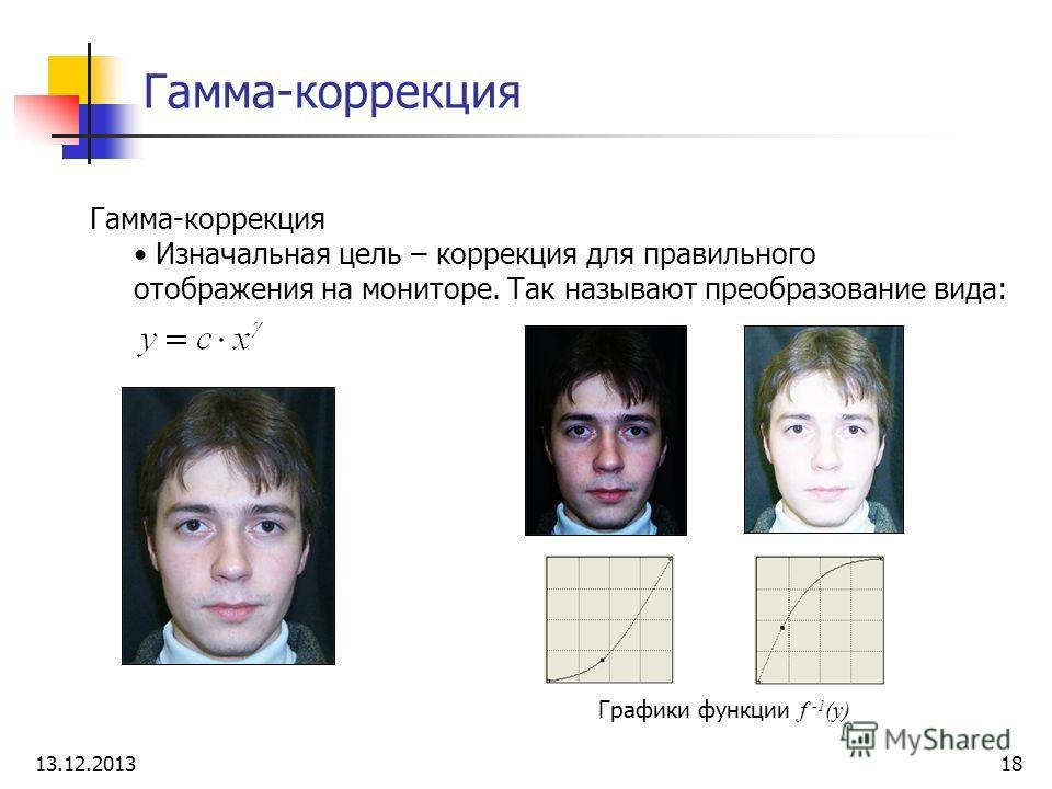 Гамма-коррекция Изначальная цель – коррекция для правильного отображения на мониторе. Так называют преобразование вида: Графики функции f -1 (y) 13.12.201318