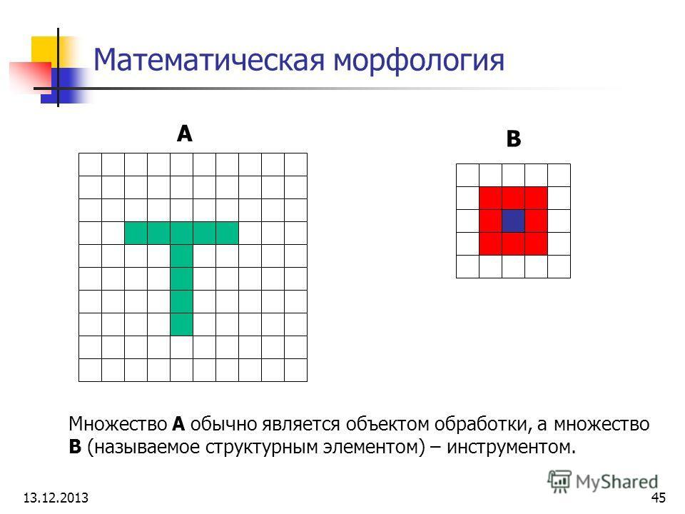 Математическая морфология A B Множество A обычно является объектом обработки, а множество B (называемое структурным элементом) – инструментом. 13.12.201345