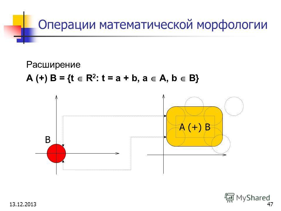 Операции математической морфологии Расширение A (+) B = {t R 2 : t = a + b, a A, b B} B A (+) B 13.12.201347