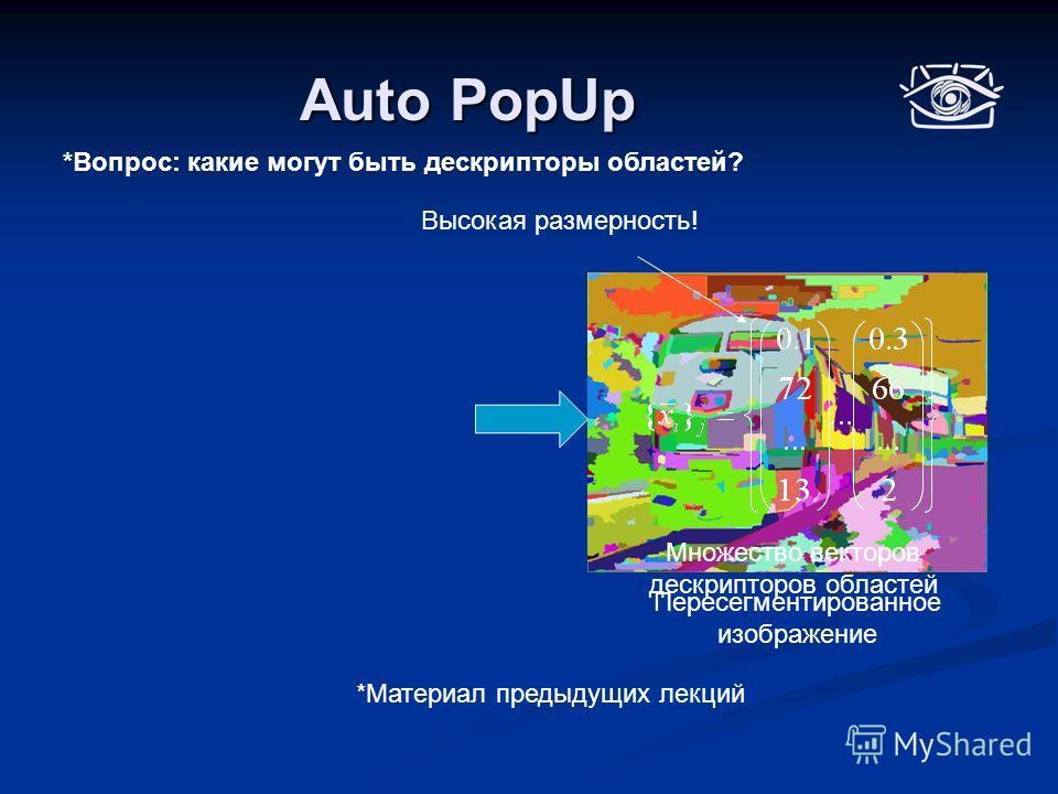 Auto PopUp Пересегментированное изображение Множество векторов дескрипторов областей *Материал предыдущих лекций Высокая размерность! *Вопрос: какие могут быть дескрипторы областей?