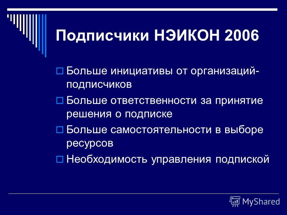 Подписчики НЭИКОН 2006 Больше инициативы от организаций- подписчиков Больше ответственности за принятие решения о подписке Больше самостоятельности в выборе ресурсов Необходимость управления подпиской