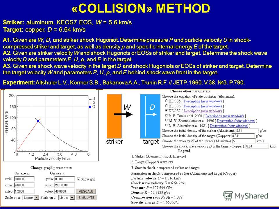 «COLLISION» METHOD Striker: aluminum, KEOS7 EOS, W = 5.6 km/s Target: copper, D = 6.64 km/s А1. Given are W, D, and striker shock Hugoniot. Determine pressure P and particle velocity U in shock- compressed striker and target, as well as density ρ and