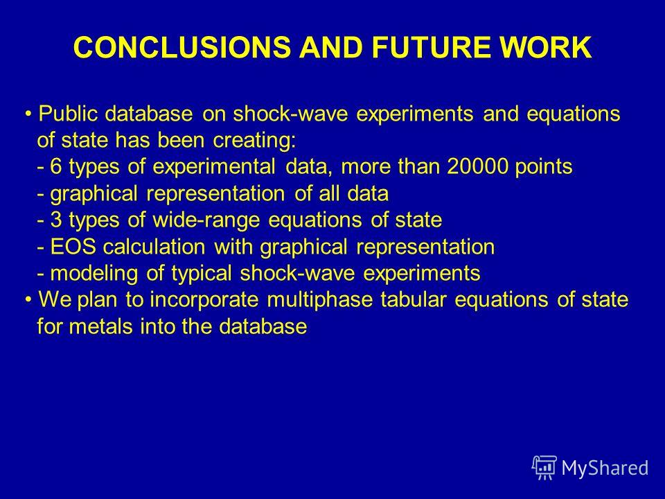 CONCLUSIONS AND FUTURE WORK Public database on shock-wave experiments and equations of state has been creating: - 6 types of experimental data, more than 20000 points - graphical representation of all data - 3 types of wide-range equations of state -