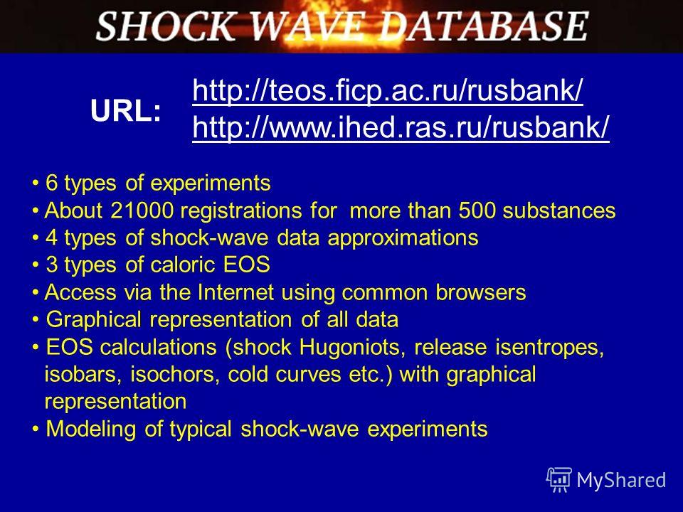 http://teos.ficp.ac.ru/rusbank/ http://www.ihed.ras.ru/rusbank/ 6 types of experiments About 21000 registrations for more than 500 substances 4 types of shock-wave data approximations 3 types of caloric EOS Access via the Internet using common browse