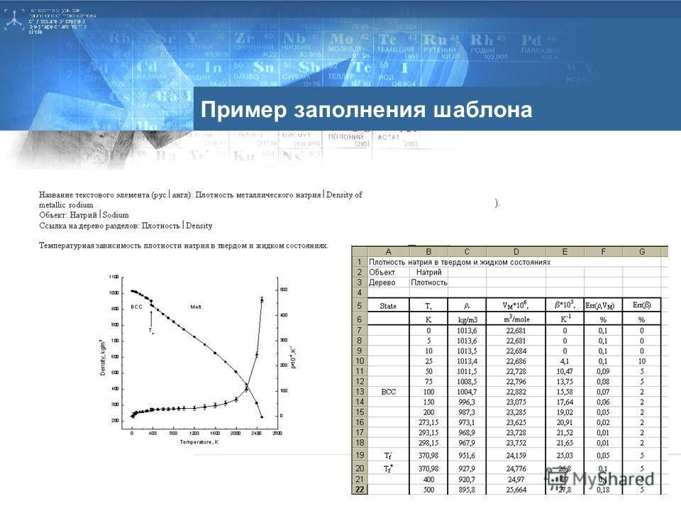 Пример заполнения шаблона ).