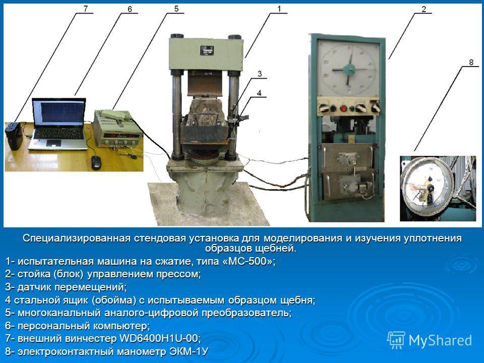 Специализированная стендовая установка для моделирования и изучения уплотнения образцов щебней. 1- испытательная машина на сжатие, типа «МС-500»; 2- стойка (блок) управлением прессом; 3- датчик перемещений; 4 стальной ящик (обойма) с испытываемым обр