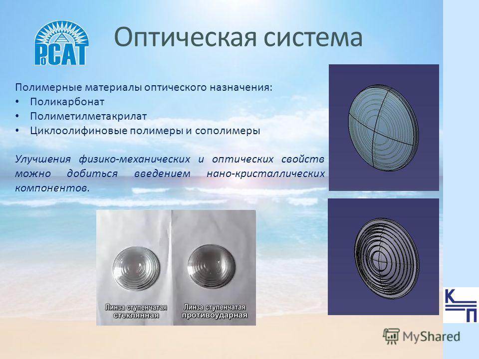 Оптическая система Полимерные материалы оптического назначения: Поликарбонат Полиметилметакрилат Циклоолифиновые полимеры и сополимеры Улучшения физико-механических и оптических свойств можно добиться введением нано-кристаллических компонентов.