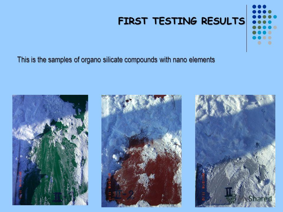 FIRST TESTING RESULTS This is the samples of organo silicate compounds with nano elements