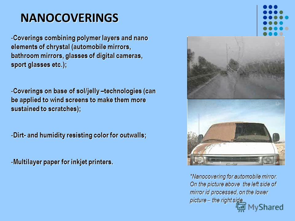 NANOCOVERINGS - Coverings combining polymer layers and nano elements of chrystal (automobile mirrors, bathroom mirrors, glasses of digital cameras, sport glasses etc.); - Coverings on base of sol/jelly –technologies (can be applied to wind screens to