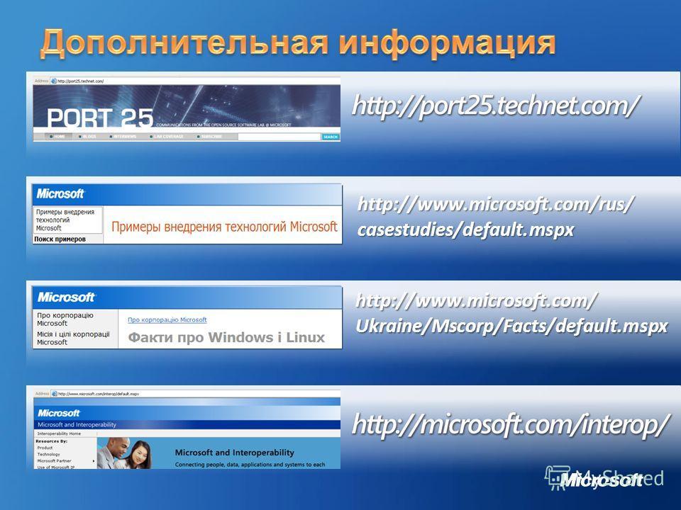 http://www.microsoft.com/Ukraine/Mscorp/Facts/default.mspx http://www.microsoft.com/rus/casestudies/default.mspx