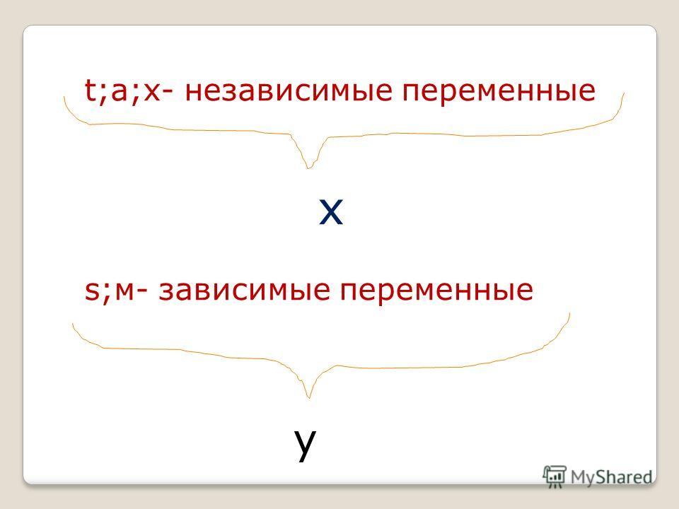 t;а;х- независимые переменные х s;м- зависимые переменные у