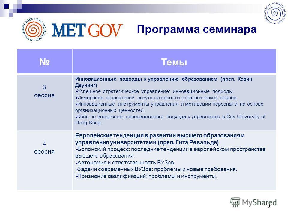 7 Темы 3 сессия Инновационные подходы к управлению образованием (преп. Кевин Даунинг) Успешное стратегическое управление: инновационные подходы. Измерение показателей результативности стратегических планов. Инновационные инструменты управления и моти