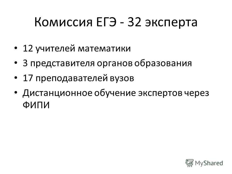 Комиссия ЕГЭ - 32 эксперта 12 учителей математики 3 представителя органов образования 17 преподавателей вузов Дистанционное обучение экспертов через ФИПИ