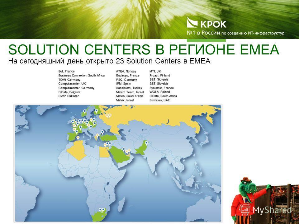 SOLUTION CENTERS В РЕГИОНЕ EMEA На сегодняшний день открыто 23 Solution Centers в ЕМЕА