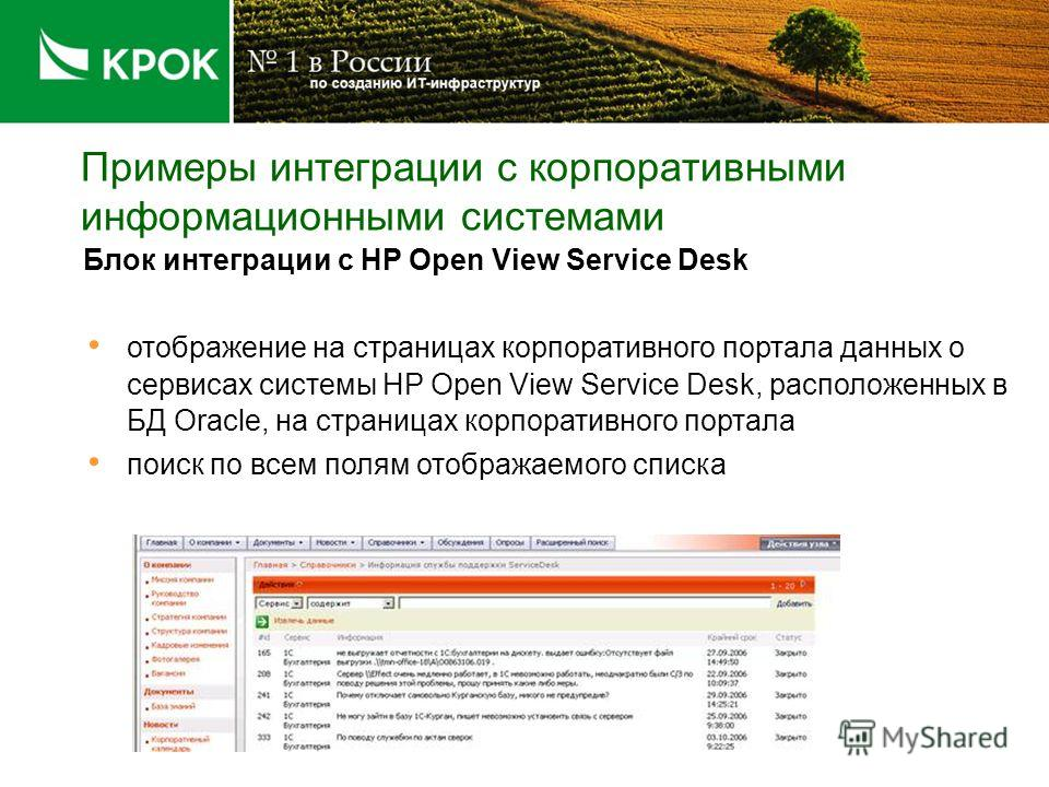 Примеры интеграции с корпоративными информационными системами Блок интеграции с HP Open View Service Desk отображение на страницах корпоративного портала данных о сервисах системы HP Open View Service Desk, расположенных в БД Oracle, на страницах кор