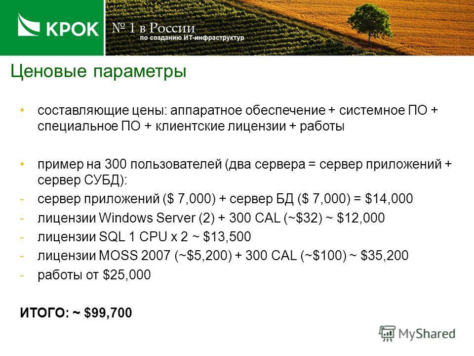 Ценовые параметры составляющие цены: аппаратное обеспечение + системное ПО + специальное ПО + клиентские лицензии + работы пример на 300 пользователей (два сервера = сервер приложений + сервер СУБД): -сервер приложений ($ 7,000) + сервер БД ($ 7,000)