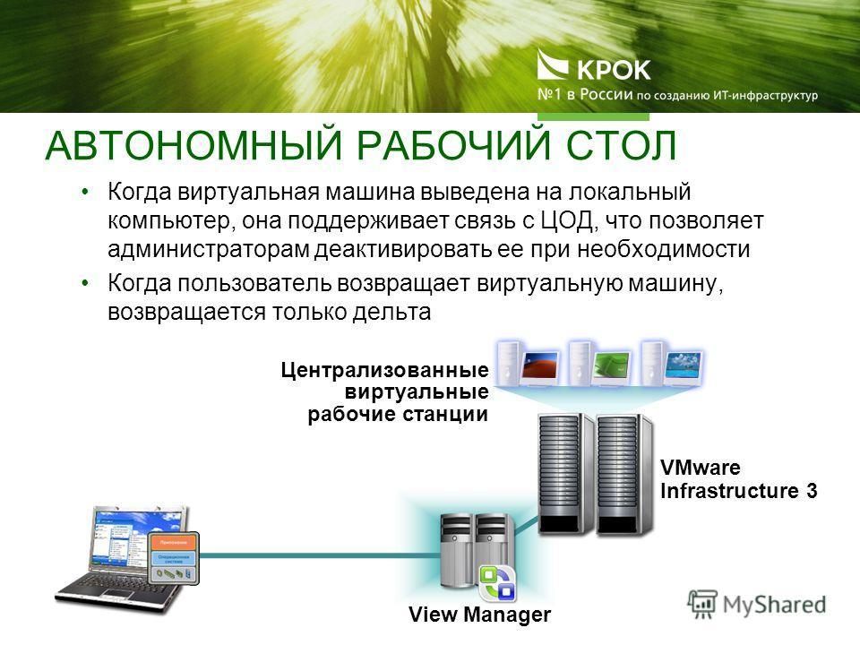 View Manager VMware Infrastructure 3 Когда виртуальная машина выведена на локальный компьютер, она поддерживает связь с ЦОД, что позволяет администраторам деактивировать ее при необходимости Когда пользователь возвращает виртуальную машину, возвращае
