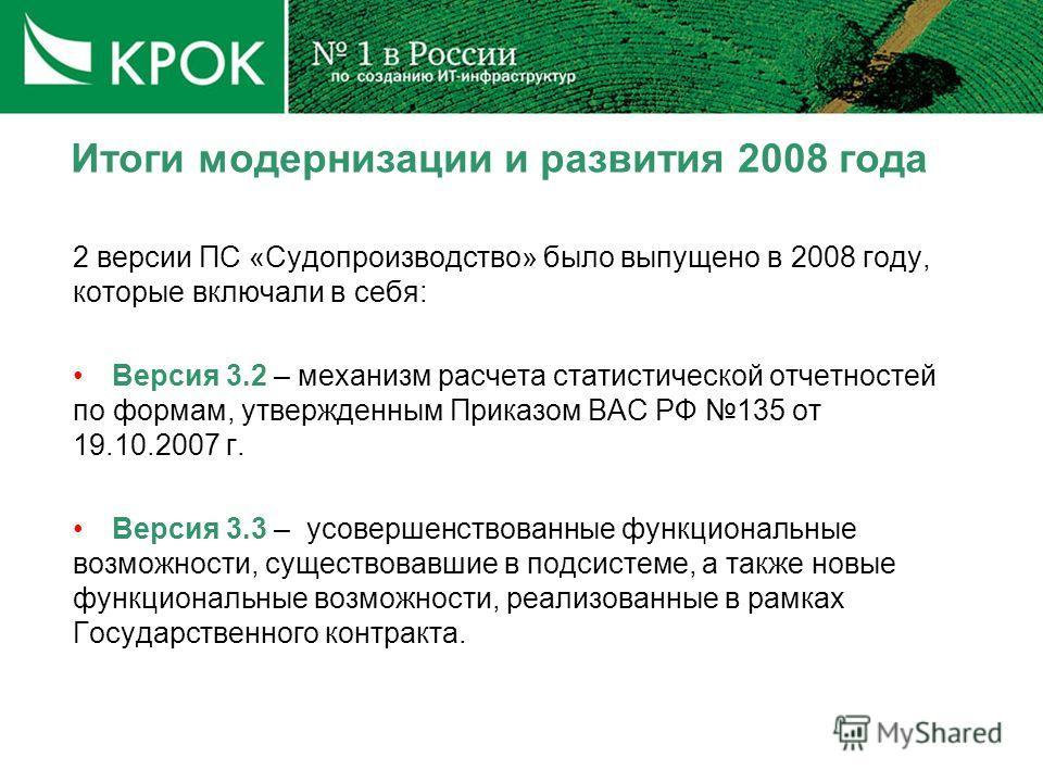 Итоги модернизации и развития 2008 года 2 версии ПС «Судопроизводство» было выпущено в 2008 году, которые включали в себя: Версия 3.2 – механизм расчета статистической отчетностей по формам, утвержденным Приказом ВАС РФ 135 от 19.10.2007 г. Версия 3.