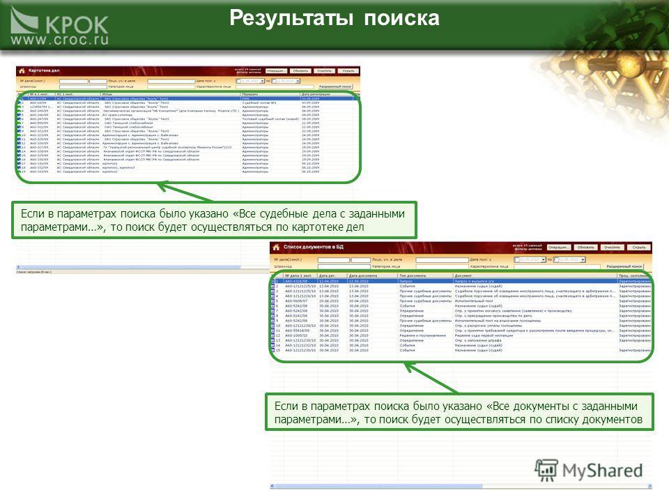 Результаты поиска Если в параметрах поиска было указано «Все судебные дела с заданными параметрами…», то поиск будет осуществляться по картотеке дел Если в параметрах поиска было указано «Все документы с заданными параметрами…», то поиск будет осущес