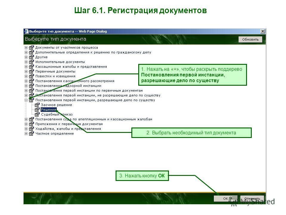 Шаг 6.1. Регистрация документов 1. Нажать на «+», чтобы раскрыть поддерево Постановления первой инстанции, разрешающие дело по существу 2. Выбрать необходимый тип документа 3. Нажать кнопку ОК