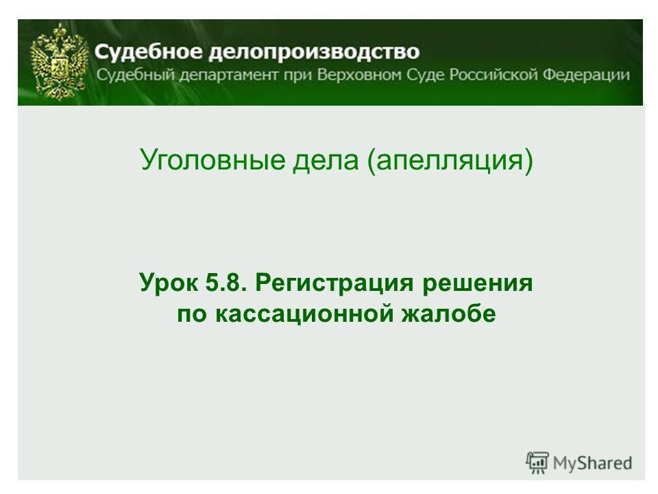 Уголовные дела (апелляция) Урок 5.8. Регистрация решения по кассационной жалобе