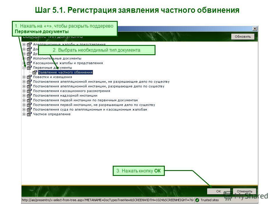 Шаг 5.1. Регистрация заявления частного обвинения 1. Нажать на «+», чтобы раскрыть поддерево Первичные документы 2. Выбрать необходимый тип документа 3. Нажать кнопку ОК