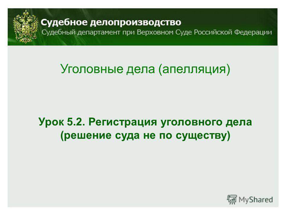 Уголовные дела (апелляция) Урок 5.2. Регистрация уголовного дела (решение суда не по существу)