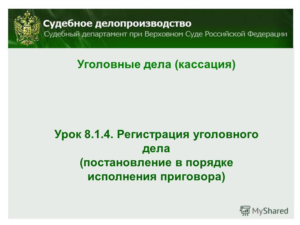 Уголовные дела (кассация) Урок 8.1.4. Регистрация уголовного дела (постановление в порядке исполнения приговора)