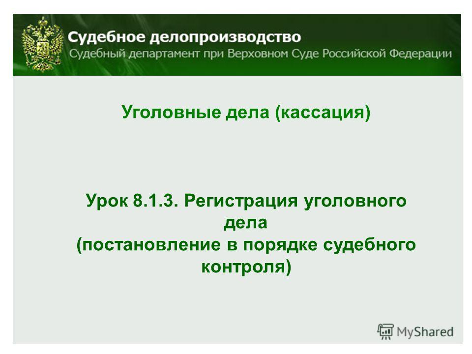 Уголовные дела (кассация) Урок 8.1.3. Регистрация уголовного дела (постановление в порядке судебного контроля)