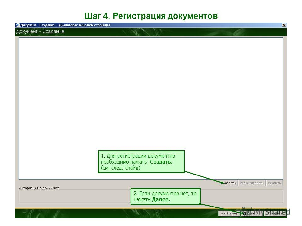 Шаг 4. Регистрация документов 1. Для регистрации документов необходимо нажать Создать. (см. след. слайд) 2. Если документов нет, то нажать Далее.