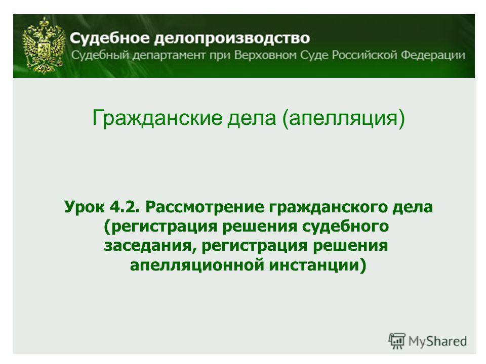 Гражданские дела (апелляция) Урок 4.2. Рассмотрение гражданского дела (регистрация решения судебного заседания, регистрация решения апелляционной инстанции)