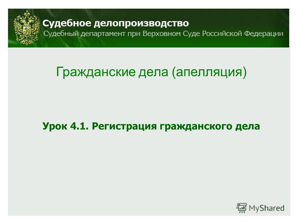 Гражданские дела (апелляция) Урок 4.1. Регистрация гражданского дела