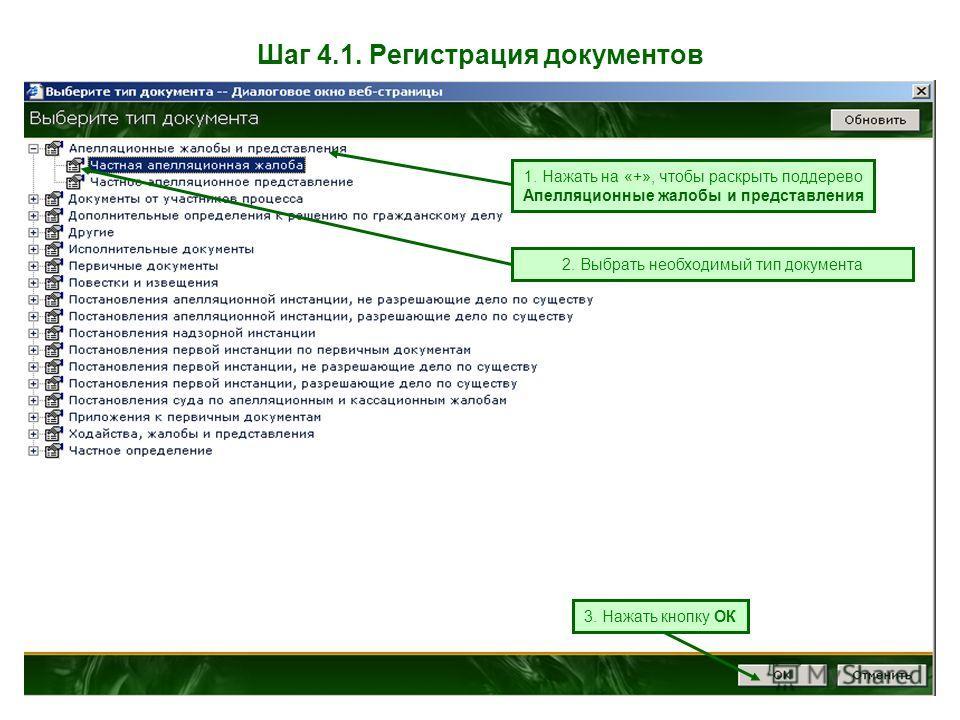 Шаг 4.1. Регистрация документов 1. Нажать на «+», чтобы раскрыть поддерево Апелляционные жалобы и представления 2. Выбрать необходимый тип документа 3. Нажать кнопку ОК