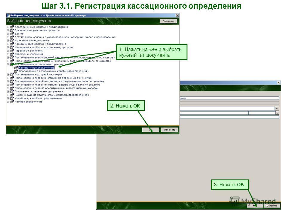 Шаг 3.1. Регистрация кассационного определения 1. Нажать на «+» и выбрать нужный тип документа 2. Нажать ОК 3. Нажать OK
