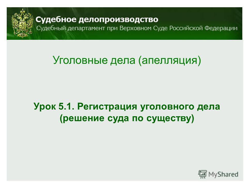 Уголовные дела (апелляция) Урок 5.1. Регистрация уголовного дела (решение суда по существу)