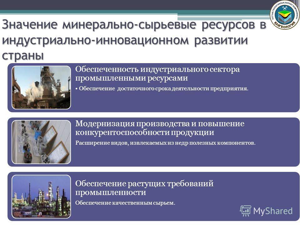 Значение минерально-сырьевые ресурсов в индустриально-инновационном развитии страны Обеспеченность индустриального сектора промышленными ресурсами Обеспечение достаточного срока деятельности предприятия. Модернизация производства и повышение конкурен