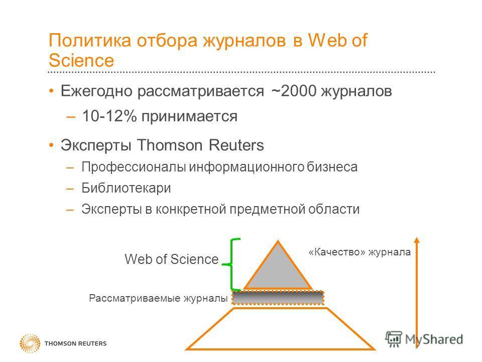 Политика отбора журналов в Web of Science Ежегодно рассматривается ~2000 журналов –10-12% принимается Эксперты Thomson Reuters –Профессионалы информационного бизнеса –Библиотекари –Эксперты в конкретной предметной области Web of Science Рассматриваем