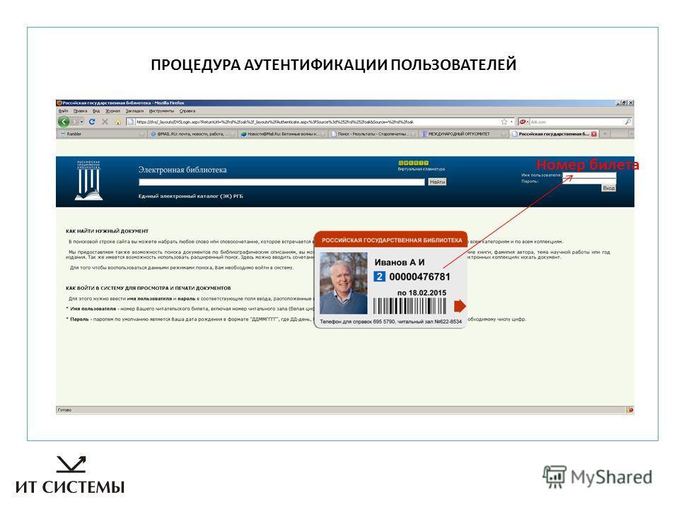 ПРОЦЕДУРА АУТЕНТИФИКАЦИИ ПОЛЬЗОВАТЕЛЕЙ Номер билета
