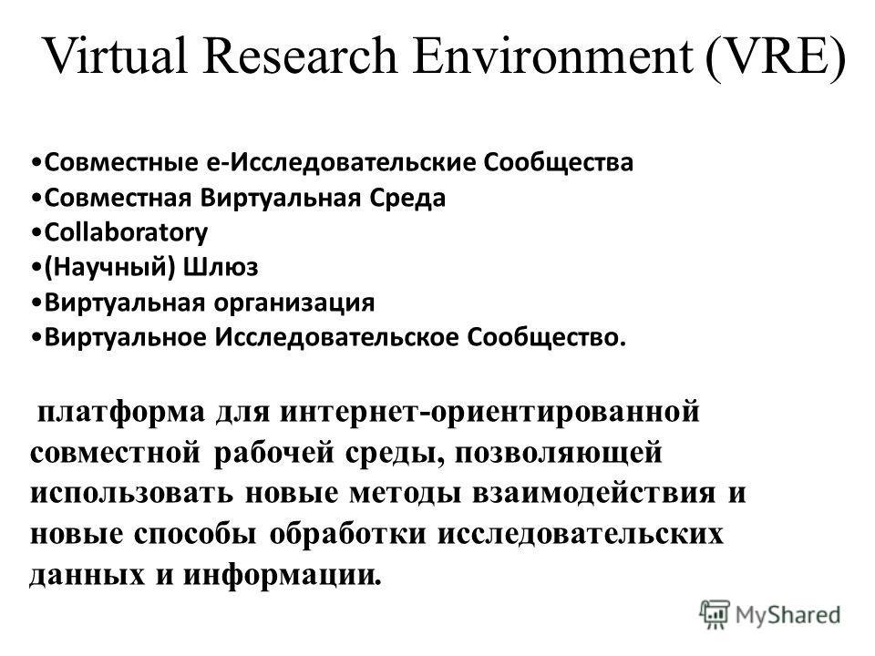 Virtual Research Environment (VRE) Совместные е-Исследовательские Сообщества Совместная Виртуальная Среда Collaboratory (Научный) Шлюз Виртуальная организация Виртуальное Исследовательское Сообщество. платформа для интернет-ориентированной совместной