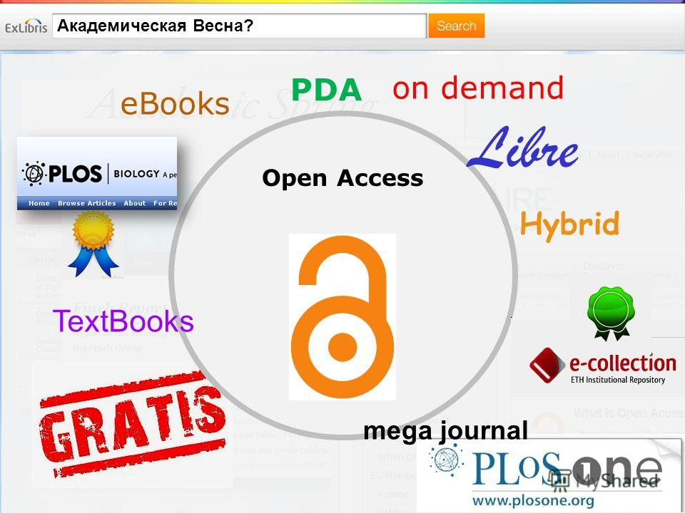 Академическая Весна? Open Access Libre mega journal PDA on demand eBooks TextBooks Hybrid