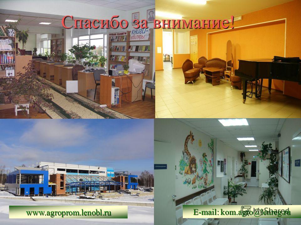 Спасибо за внимание! www.agroprom.lenobl.ru E-mail: kom.agro@lenreg.ru