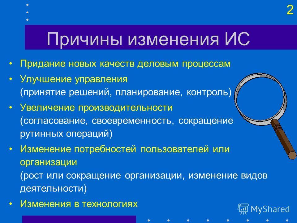 1 Организация разработки ИС Причины Участники Этапы