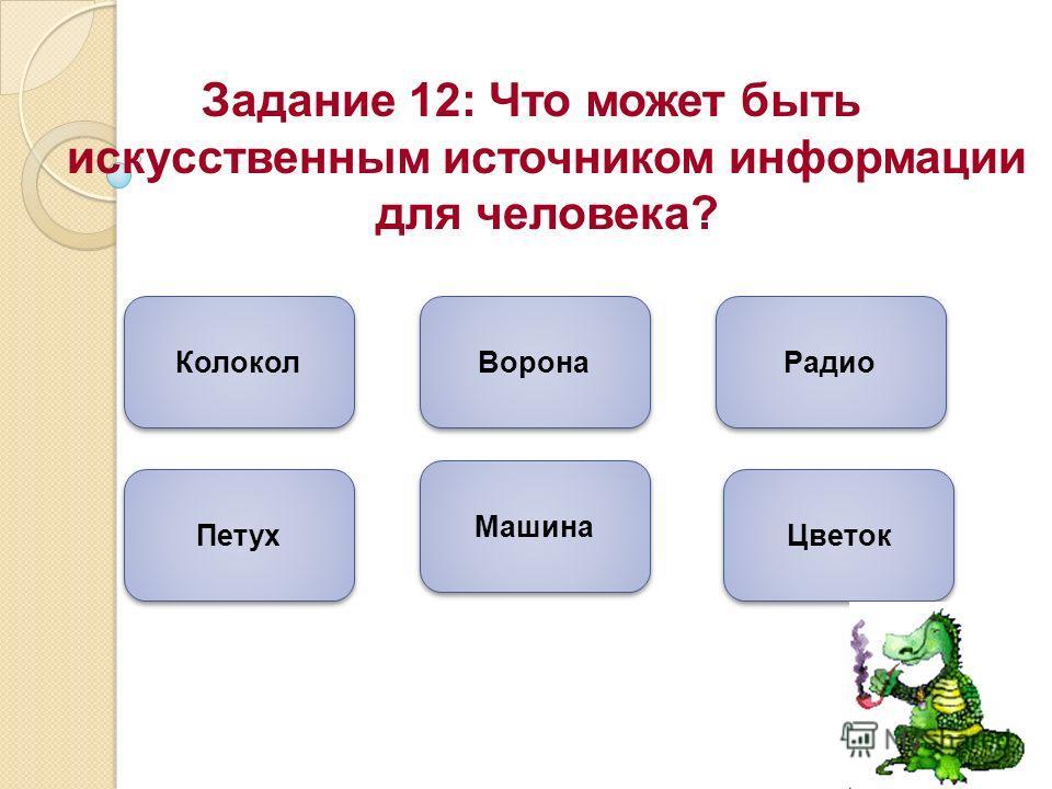 Задание 12: Что может быть искусственным источником информации для человека? Машина Радио Колокол Цветок Ворона Петух