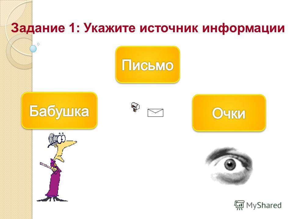 Задание 1: Укажите источник информации