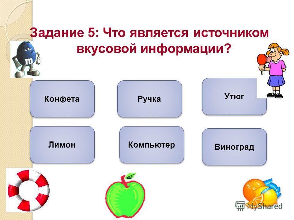 Задание 5: Что является источником вкусовой информации? Конфета Лимон Виноград Ручка Утюг Компьютер