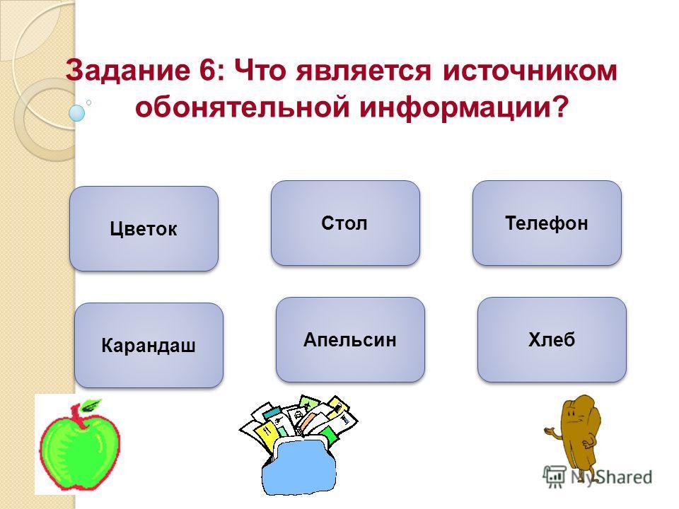 Задание 6: Что является источником обонятельной информации? Цветок Апельсин Хлеб Карандаш Стол Телефон