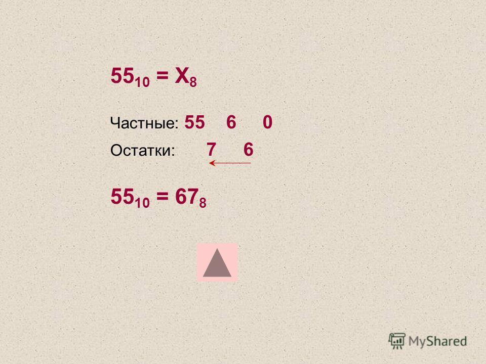 55 10 = Х 8 Частные: 55 6 0 Остатки: 7 6 55 10 = 67 8